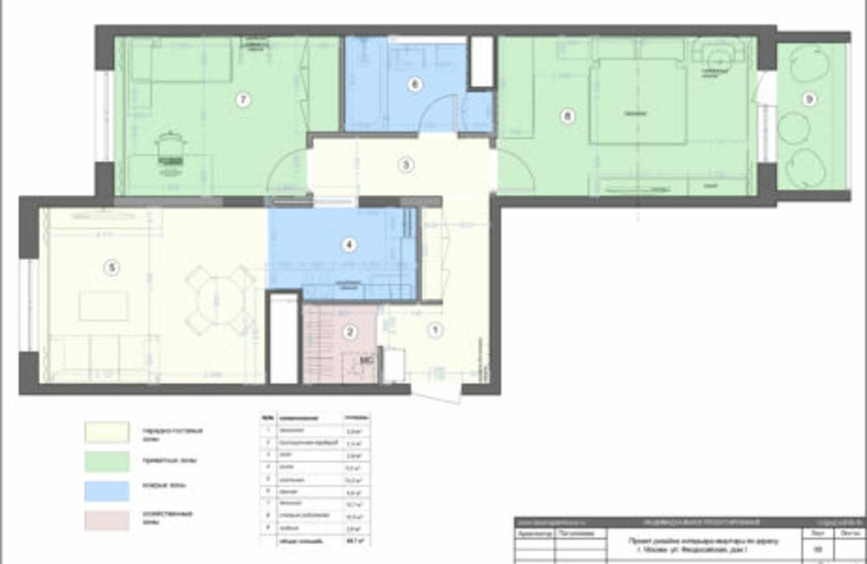 План с расстановкой мебели и сантехники_экспликация
